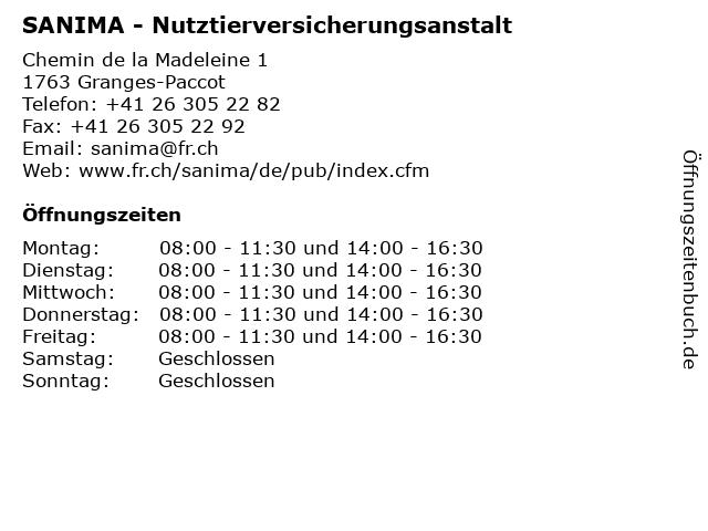 SANIMA - Nutztierversicherungsanstalt in Granges-Paccot: Adresse und Öffnungszeiten