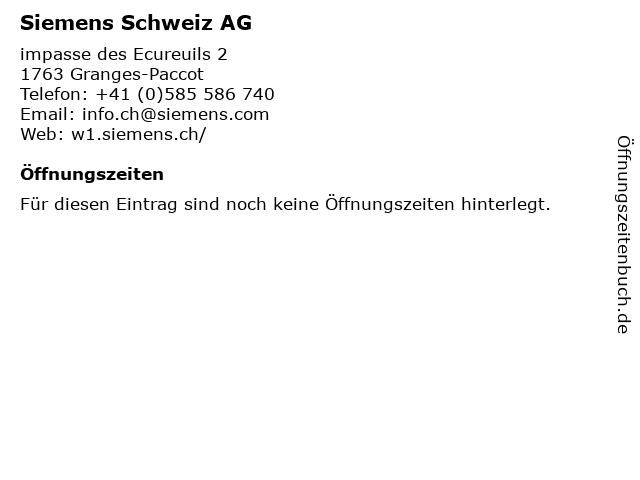 Siemens Schweiz AG in Granges-Paccot: Adresse und Öffnungszeiten