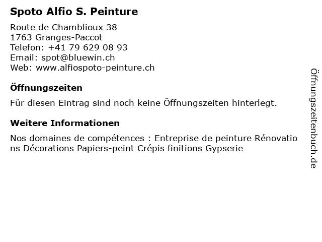 Spoto Alfio S. Peinture in Granges-Paccot: Adresse und Öffnungszeiten