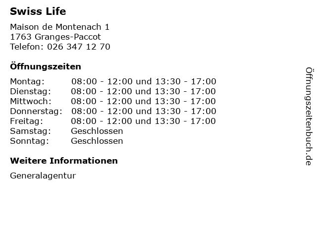 Swiss Life in Granges-Paccot: Adresse und Öffnungszeiten