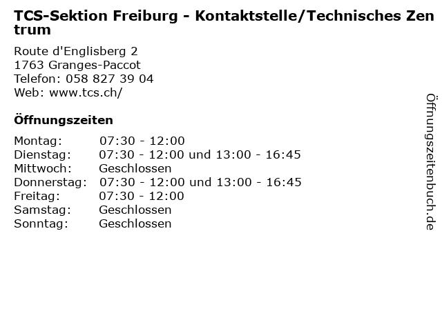 TCS-Sektion Freiburg - Kontaktstelle/Technisches Zentrum in Granges-Paccot: Adresse und Öffnungszeiten