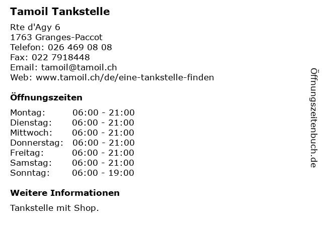 Tamoil Tankstelle in Granges-Paccot: Adresse und Öffnungszeiten