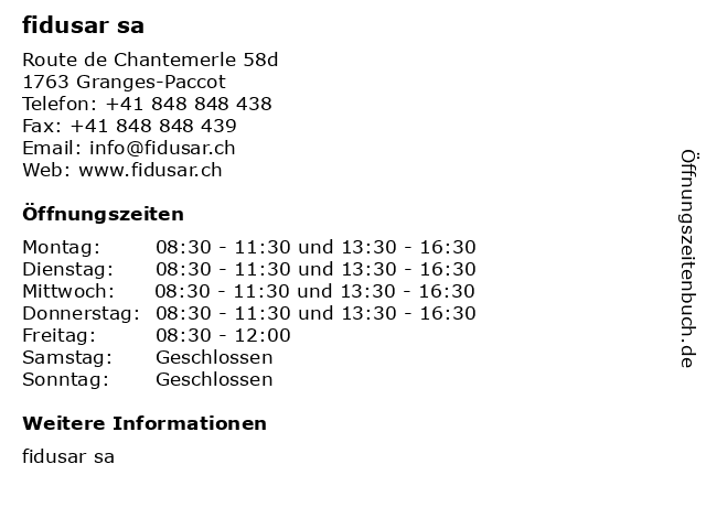 fidusar sa in Granges-Paccot: Adresse und Öffnungszeiten