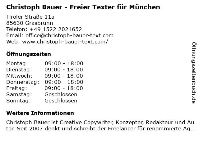 Christoph Bauer - Freier Texter für München in Grasbrunn: Adresse und Öffnungszeiten