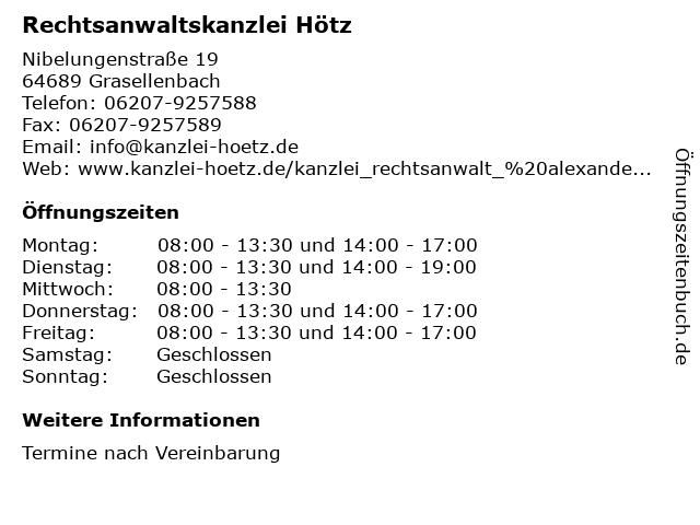 Rechtsanwaltskanzlei Hötz in Grasellenbach: Adresse und Öffnungszeiten