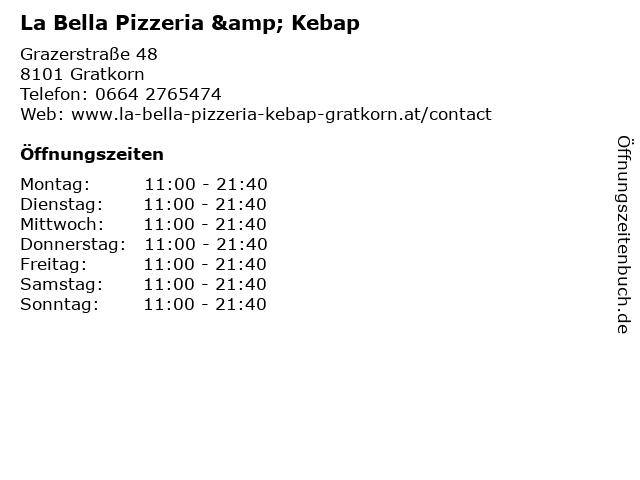 La Bella Pizzeria & Kebap in Gratkorn: Adresse und Öffnungszeiten