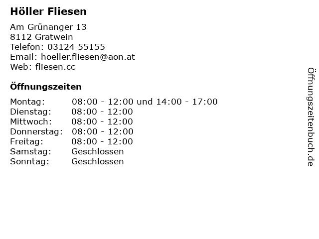 Höller Fliesen in Gratwein-Straßengel: Adresse und Öffnungszeiten