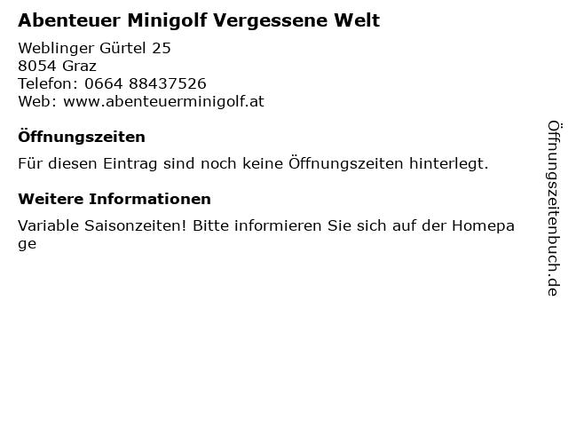 Abenteuer Minigolf Vergessene Welt in Graz: Adresse und Öffnungszeiten