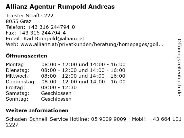 Allianz Agentur Rumpold Andreas in Graz: Adresse und Öffnungszeiten