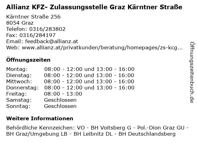Allianz KFZ- Zulassungsstelle Graz Kärntner Straße in Graz: Adresse und Öffnungszeiten