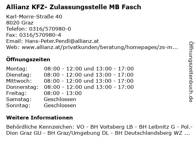 Allianz KFZ- Zulassungsstelle MB Fasch in Graz: Adresse und Öffnungszeiten