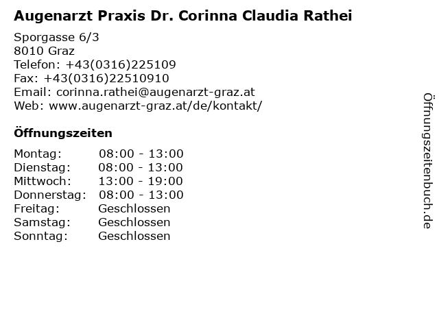 Augenarzt Praxis Dr. Corinna Claudia Rathei in Graz: Adresse und Öffnungszeiten