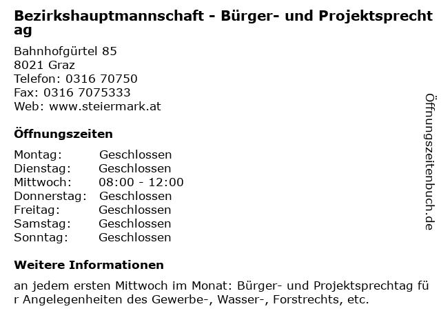 Bezirkshauptmannschaft - Bürger- und Projektsprechtag in Graz: Adresse und Öffnungszeiten