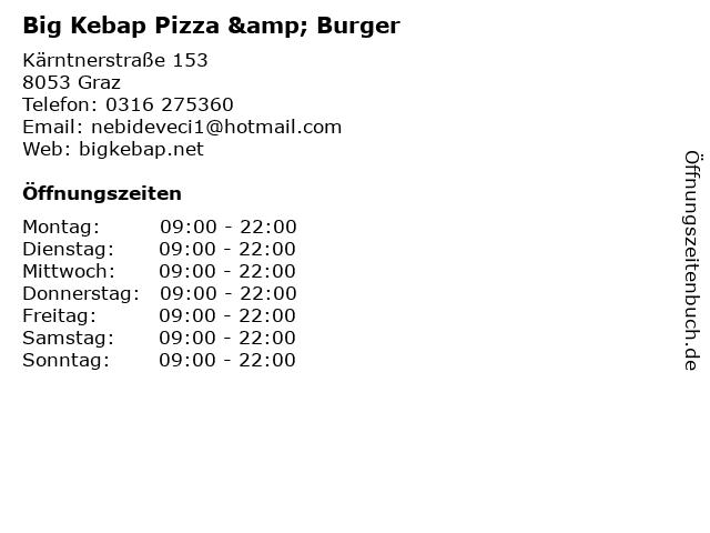 Big Kebap Pizza & Burger in Graz: Adresse und Öffnungszeiten