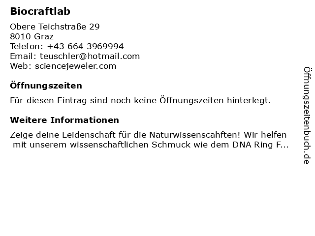 Biocraftlab in Graz: Adresse und Öffnungszeiten