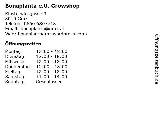 Bonaplanta e.U. Growshop in Graz: Adresse und Öffnungszeiten