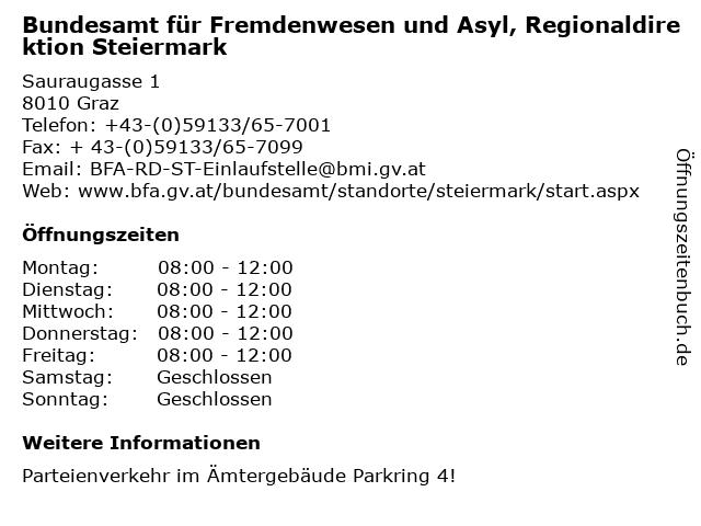 Bundesamt für Fremdenwesen und Asyl, Regionaldirektion Steiermark in Graz: Adresse und Öffnungszeiten