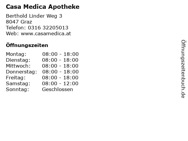 Casa Medica Apotheke in Graz: Adresse und Öffnungszeiten
