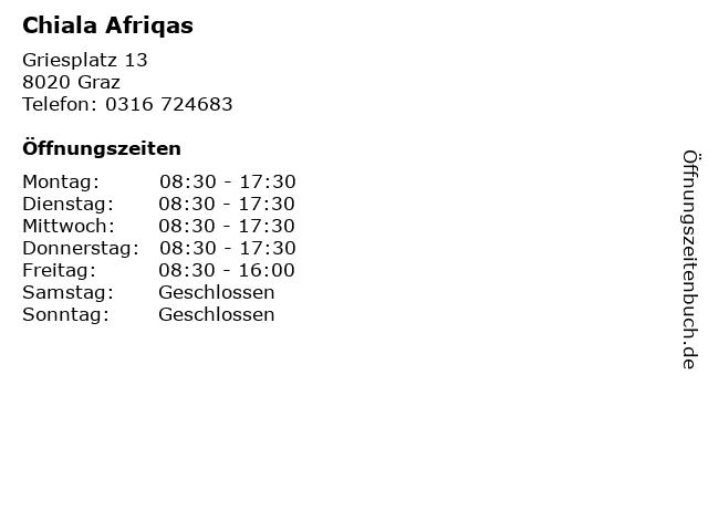 Chiala Afriqas in Graz: Adresse und Öffnungszeiten