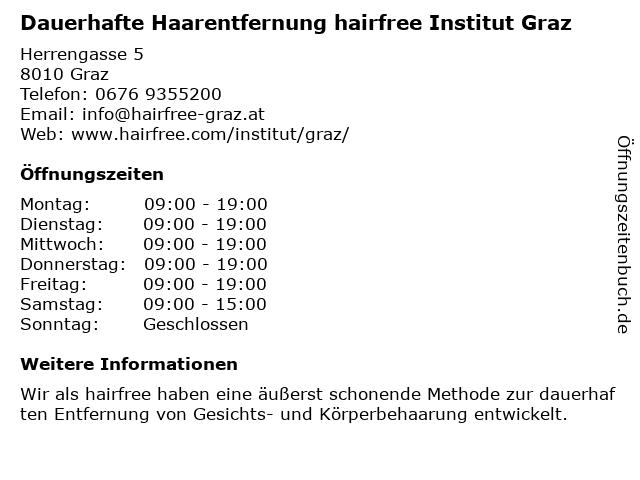 Dauerhafte Haarentfernung hairfree Institut Graz in Graz: Adresse und Öffnungszeiten