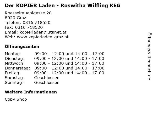 Der KOPIER Laden - Roswitha Wilfling KEG in Graz: Adresse und Öffnungszeiten