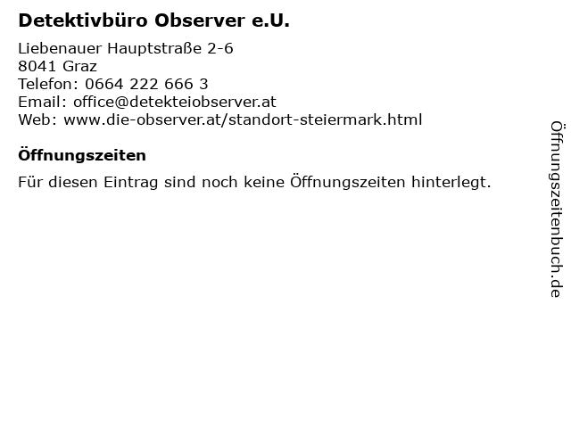 Detektivbüro Observer e.U. in Graz: Adresse und Öffnungszeiten