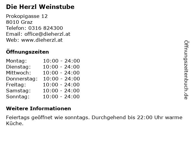 Die Herzl Weinstube in Graz: Adresse und Öffnungszeiten