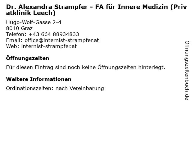 Dr. Alexandra Strampfer - FA für Innere Medizin (Privatklinik Leech) in Graz: Adresse und Öffnungszeiten