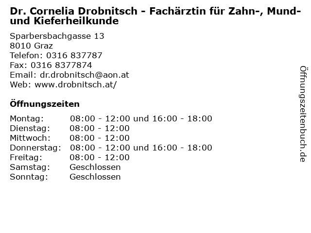 Dr. Cornelia Drobnitsch - Fachärztin für Zahn-, Mund- und Kieferheilkunde in Graz: Adresse und Öffnungszeiten