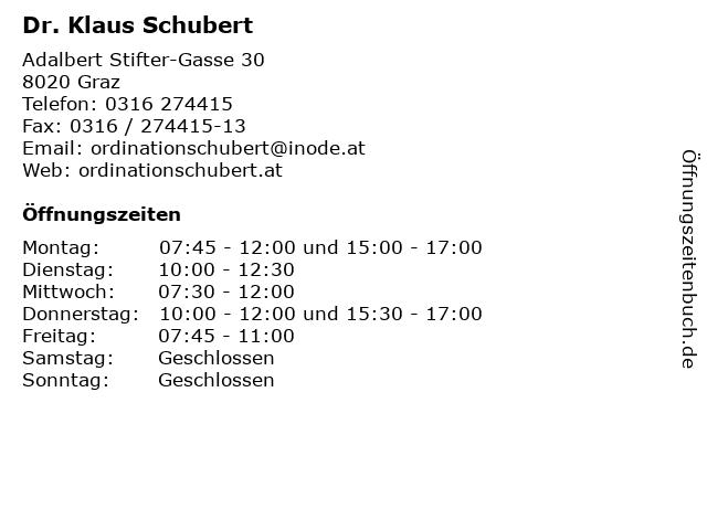 Dr. Klaus Schubert in Graz: Adresse und Öffnungszeiten