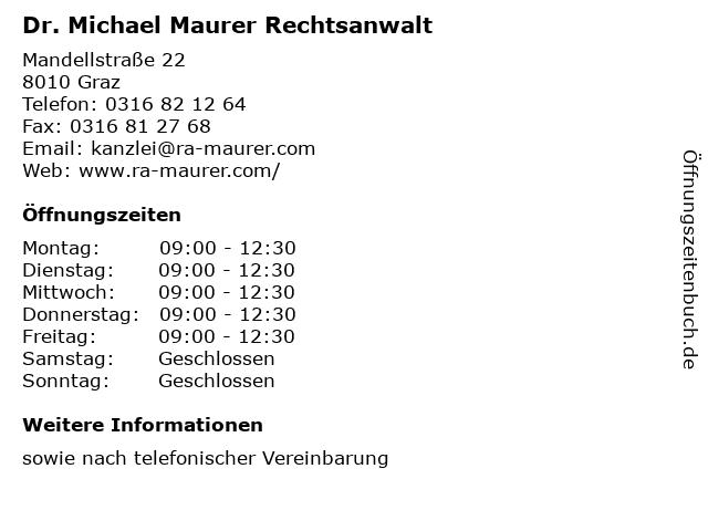 Dr. Michael Maurer Rechtsanwalt in Graz: Adresse und Öffnungszeiten