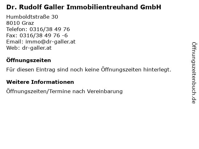 Dr. Rudolf Galler Immobilientreuhand GmbH in Graz: Adresse und Öffnungszeiten