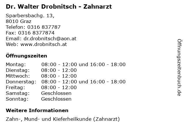 Dr. Walter Drobnitsch - Zahnarzt in Graz: Adresse und Öffnungszeiten