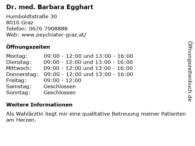 Dr. med. Barbara Egghart in Graz: Adresse und Öffnungszeiten