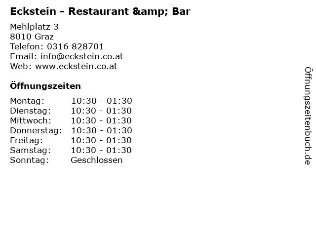 Eckstein - Restaurant & Bar in Graz: Adresse und Öffnungszeiten
