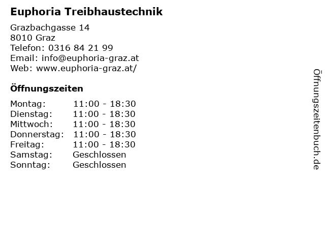 Euphoria Treibhaustechnik in Graz: Adresse und Öffnungszeiten