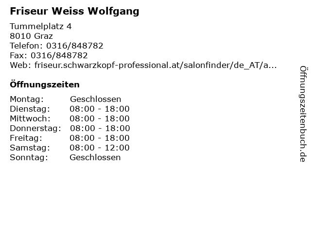 Friseur Weiss Wolfgang in Graz: Adresse und Öffnungszeiten