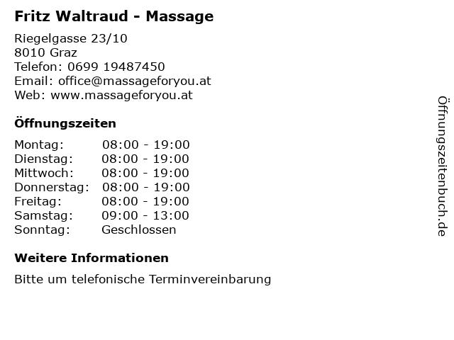 Fritz Waltraud - Massage in Graz: Adresse und Öffnungszeiten