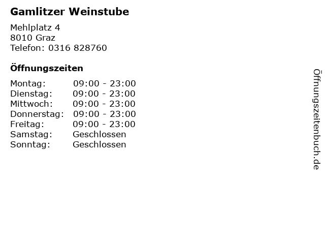 Gamlitzer Weinstube in Graz: Adresse und Öffnungszeiten