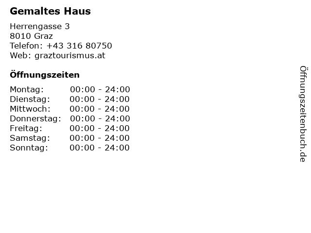 Gemaltes Haus in Graz: Adresse und Öffnungszeiten