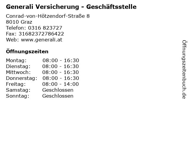 Generali Versicherung - Geschäftsstelle in Graz: Adresse und Öffnungszeiten