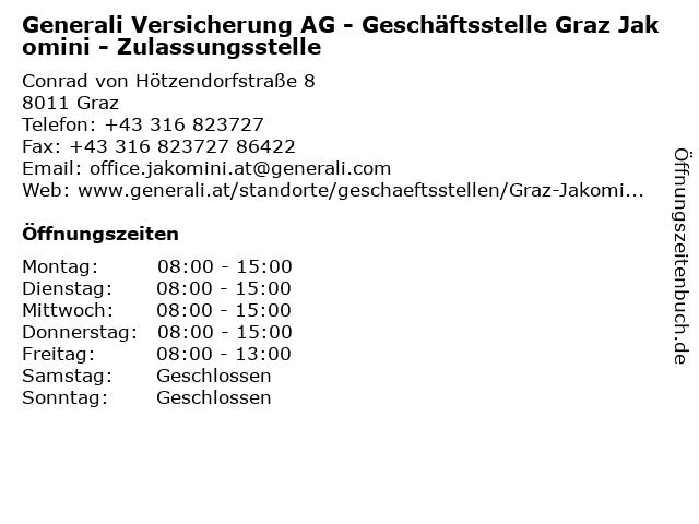 Generali Versicherung AG - Geschäftsstelle Graz Jakomini - Zulassungsstelle in Graz: Adresse und Öffnungszeiten