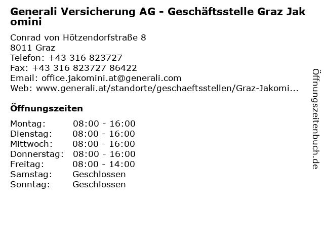 Generali Versicherung AG - Geschäftsstelle Graz Jakomini in Graz: Adresse und Öffnungszeiten