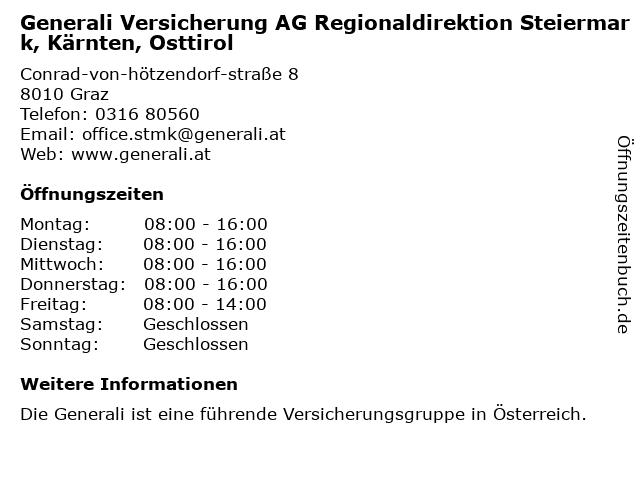 Generali Versicherung AG Regionaldirektion Steiermark, Kärnten, Osttirol in Graz: Adresse und Öffnungszeiten