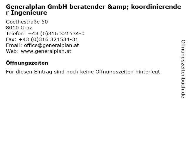 Generalplan GmbH beratender & koordinierender Ingenieure in Graz: Adresse und Öffnungszeiten