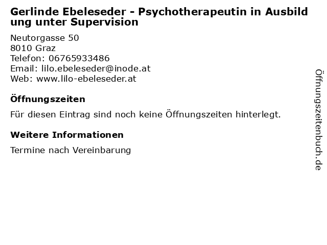 Gerlinde Ebeleseder - Psychotherapeutin in Ausbildung unter Supervision in Graz: Adresse und Öffnungszeiten