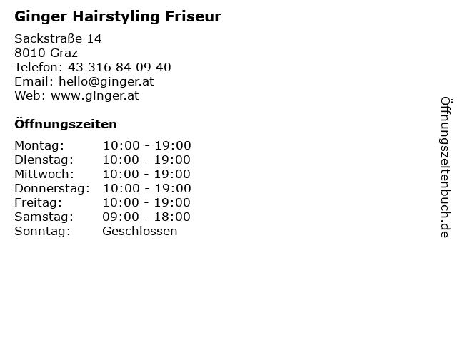 Ginger Hairstyling Friseur in Graz: Adresse und Öffnungszeiten