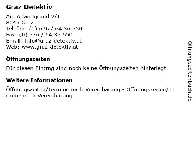 Graz Detektiv in Graz: Adresse und Öffnungszeiten