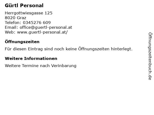 Gürtl Personal in Graz: Adresse und Öffnungszeiten