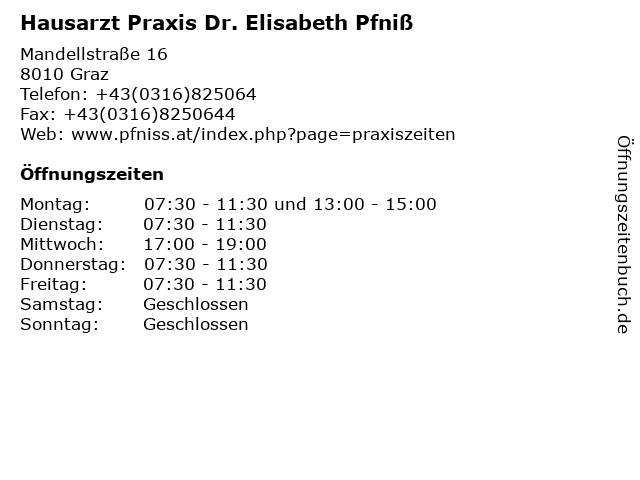 Hausarzt Praxis Dr. Elisabeth Pfniß in Graz: Adresse und Öffnungszeiten